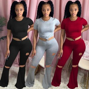 22TY1865 Autumn Women Casual Solid Print Two Piece Set Bandage Top and Hole Flare Pants Tracksuit Sweatsuit Outfits Plus Size