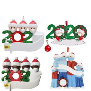 Personalizado 2020 fiesta de Navidad Decoración de cuarentena de regalo con el marcador de DIY Pluma Familia personalizada de 7 ornamento de la pandemia de distanciamiento