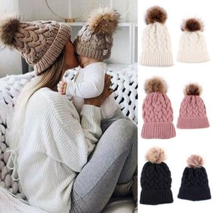 2020 New High Quality Crochet Mother Baby Kids Hats Matching Knitting Wool Pom Bobble Hat Winter Warm Beanie Cap Solid Color Cap