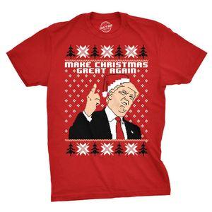 2020 nuevos algodón para hombre hacen grandes navidad nuevo triunfo de santa sombrero divertido feas navidad primer golpe corto de la manga de la camiseta