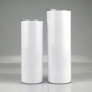 20Oz 30oz Sublimation Verjünferte dünne Tumbler Edelstahl leerer weißer dünner Tasse mit Deckel Strohzylinder Wassersee versand AHB1959