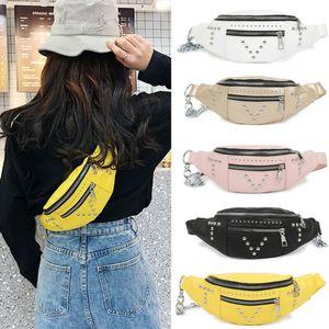 Fashion rivet Waterproof Waist Packs Crossbody Bags Women Fanny Pack Female Belt Bag Chest Phone Pouch Wallet