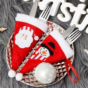 Christmas Decor Christmas Decorative tableware Caps Cutlery Holder Knife Fork Set Spoon Pocket Christmas Decor Bag 10x19cm
