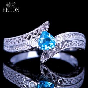HELON Vintage-Sterlingsilber-925 Frauen-Schmucksachen Verpflichtungs-Edelstein-Ring Billion Cut echte natürliche Blautopas Diamanten Ring