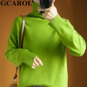 GCAROL, cachemir Cuello alto para mujer, 30% Lana, grueso, minimalista, OL, Holgado Casual, Jersey punto de