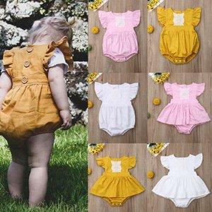0-24M Yenidoğan Çocuk Bebek Kız Erkek Giyim Dantel Kısa Kollu Yaz Romper Zarif Düz Casual Sunsuit Sevimli güzel pamuk Kıyafetler