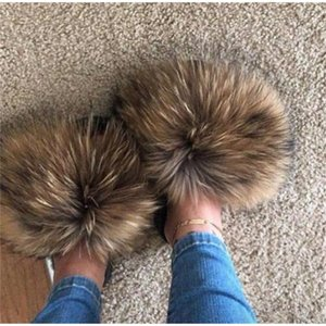 2020 New Fashion Real Fox Hair Sandals Flip Flops Summer Shoes Beach Sandals Slides Slip On Shoes Furry Slippers Y200620