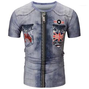 Tshirts лето O шеи с коротким рукавом Креативный Tops США Джинсы мужские Tees 3D Digital Jean Печать Mens