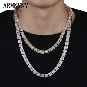 Chains 10MM Bling Iced Out Tennis Chain Square Lattice CZ Stone Gold Silver Color Cubic Zircon Necklaces For Men Hip Hop Jewelry