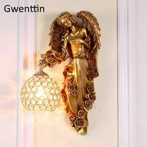 Vintage Angel Wall Lamps Crystal Wall Light Fixtures Led Sconce Retro Mirror Lights for Living Room Bedroom Lamp Home Art Decor