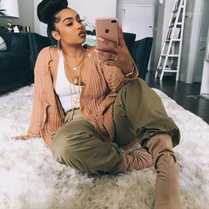Holes Sweater Fashion Long Sleeve Big Pocket Cardigan Sweater Khaki Street Styles Long Kniter Womens Designer