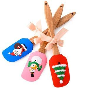 Pastel de Navidad Espátula Scraper Silicone Crema Mantequilla Mantequilla Mezcla Scraper Scaper Butter Mezclador Pinceles Pinceles Hornear Herramientas de cocina BWE3142