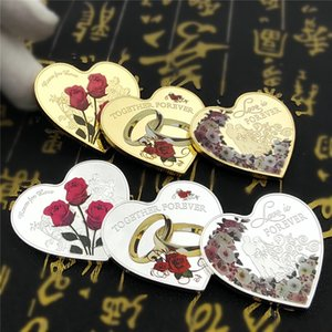 6PCs set 999 Silver Gold Heart-shaped Love Coins Wedding Rings Roses Love Forever Marriage Anniversary Valentine's Day Gifts