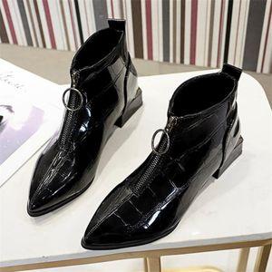 LYXLYH nuove donne di modo Martin stivali a punta spessa chiusura lampo anteriore Stivali Donna Primavera Autunno Thick Heel Y648
