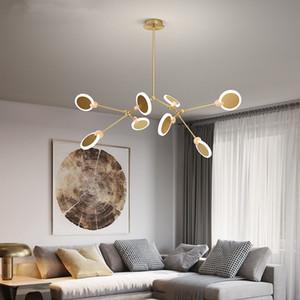 Luxury Brass Wooden Chandeliers Post-modern Lights for Living Room Dining Room Nordic Molecular Lamps Bedroom Lightings
