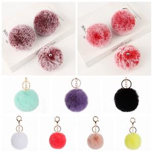 8cm Imitate Kaninchen-Pelz-Ball Keychain Pom Pom Autohandtasche Schlüsselanhänger Dekoration Fluffy Faux-Kaninchen-Pelz-Schlüsselring-Tasche Zubehör LJJP495