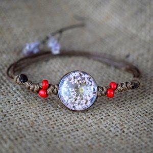 Caliente de la manera natural romántica Mujeres seco Flores transparente Bola de cristal pulseras pendientes regalo Dried pulsera de la flor