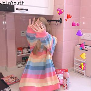 Joinyouth arco iris de rayas de manga larga sudaderas ropa mujer Ropa de moda de Corea suelta la camiseta de gran tamaño de Calle Harajuku