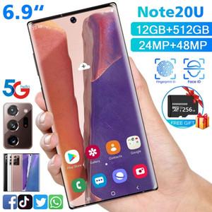 2020 الجديد 6.9 بوصة 4G / 5G ريال حفر شاشة الهاتف الذكي منحني Note20U مع 12 + 512GB الذاكرة كبير الروبوت الهاتف المحمول المزدوج سيم بطاقات Blueto