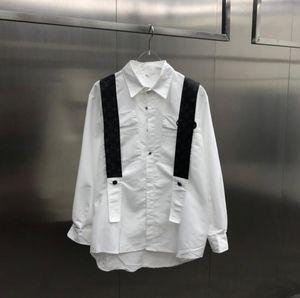 20SS فرنسا أحدث رسائل الجلود لربيع وصيف تي الأزياء إيطاليا قمصان الكتف الرجال والنساء القطن عارضة البيسبول تي شيرت أسود أبيض