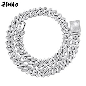 JINAO 14mm Miami New Box Big Clasp Cuban Link Chain Gold Silver color Necklace Iced Out Cubic Zirconia Bling for Men Jewelry