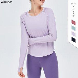Wmuncc Yoga camisa do exercício do esporte Mulheres Long Sleeve Top Gym Fitness Sexy Shirts Tops Mulher oco Out respirável Feminino Sportwear