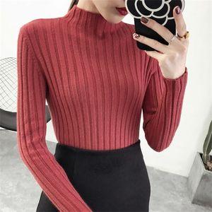 Shintimes Mujeres 2020 Casual cuello alto suéter de punto de Invierno Mujer Suéteres Mujeres suéteres de manga larga Ropa para Mujer