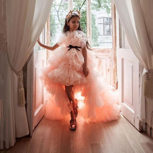 Alta Baixa Tiered Tulle Meninas Pageant vestidos longos em camadas Flor Girls Dress Blush Rosa Ruffles aniversário dos miúdos vestidos Vestidos