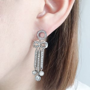 NEW HOT Fashion hoop Bow earrings aretes orecchini for women party wedding lovers gift jewelry engagement with box lz