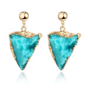Unique Female Resin Stone Triangle Dangle Druzy Earings For Women Jewelry Handmade Drusy Drop Earing Eardrop Pink Earrings E153