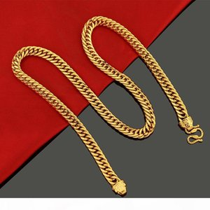 10mm Thick Heavy Tight Necklace Double Curb Chain 18K Yellow Gold Filled Hip Hop Mens Necklace Solid Jewelry Classic Style