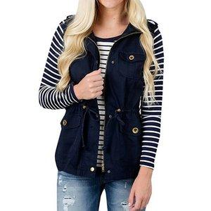 NEW 2020 Frauen Mantel Damen Jacken-Weste Frachtdienst Safari-Weste W / Taschen Kordelzug Armee Top Bomber-Jacken-Mantel