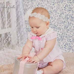 DBH13949 dave bella summer new born baby girls fashion bow striped jumpsuits infant toddler clothes children romper 1 piece