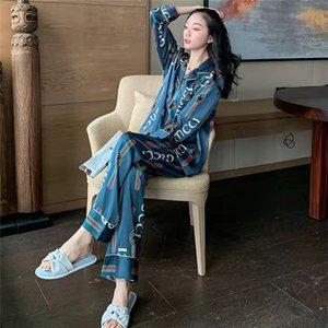 les femmes 8ajamas pantalons de soie glace printemps manches longues automne à augmenter la taille sexy et simulation hiver soie vêtements minces à la maison peuvent être portés OU