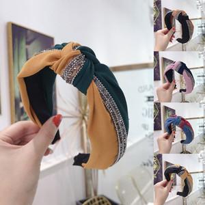 Блестки Лоскутного оголовья Черного Hairbands женщины Цвет Блок волосы обруч аксессуары Bowknot Cross Tie Wide Side