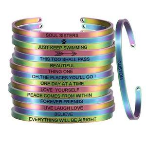 """Aço inoxidável Engrave """"Apenas mantenha nadar"""" inspirador inspirado Bracelet For Her Rainbow Color SL-095"""