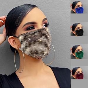 Блеск Bling Bling Блестка маска пыл моющихся многоразовое ветрозащитная маска для лица с помощью регулируемой ушного ночного клуба Маски партии маски