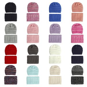 New Winter Children's Bib Hat Two Piece Set Baby Knitted Caps Warm Wool Plush Thickened Neck Cover Velvet Cotton Beanie Hats Hot