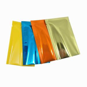 200Pcs lot Glossy Colors Flat Aluminum Foil Packaging Bag Mylar Foil Dried Flower Vacuum Heat Seal Open Top Pack Bag 8*12cm