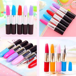 XRHYY 1 Piece Lipstick Shape Pen, Creative Ballpoint Writing Pens Multi-Color Lipstick Cute Ball Pen Novelty Office Stationery