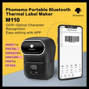 Phomemo M110 Label Maker portátil Bluetooth Thermal Label Printer aplica ao vestuário de jóias de Divulgação Retail Barcode Mini Printer