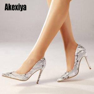 드레스 신발 여성 패션 뾰족한 발가락 스틸 레토 발 뒤꿈치 대리석 패턴 여성 슈퍼 높은 뷰티 숙녀 펌프 크기 35-42 U076