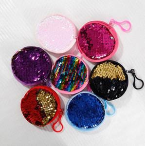 Kinder Mermaid Pailletten Geldbörse Geldbörsen Mädchen Tragbare Kopfhörer Keychain Lagerung Handtaschetotes- Kinder Reißverschluss-Handtaschen Schlüsseletui E9901
