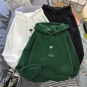 Hooded sweatshirt womens autumn and winter new letter embroidery plus velvet thick casual student i loose wild pullover women