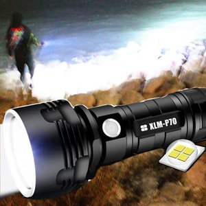 Poderosa lanterna L2 XHP70 LED tático tocha USB recarregável Waterproof Lamp Ultra Bright Lanterna