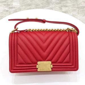 Женщина верхнего качества сумки V замок ле мальчик небольшие решетки алмаза Резьба из натуральной кожи цепи классический лоскут кошелек кошелек сумка на ремне сумки мешочки