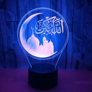 Creativo colorido 3D llevó luces de acrílico 3D pequeña lámpara de mesa de control remoto de color Cambio de la mezquita islámica noche de la lámpara decoración del hogar