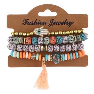 Moda malvada ojo encantos pulseras fatima hamsa mano kabbalah cuentas elásticas pulsera brazaletes multicapa hecha a mano perlas pulseras para mujeres hombres