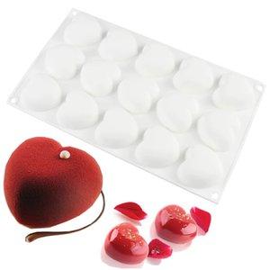 Silicone Romantics 15 en forme de coeur moule Mini gâteau pour le chocolat Desserts Pudding cuisson décoration de gâteaux Moules outil Pan
