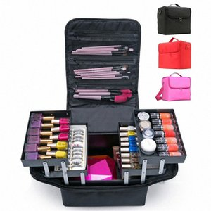 Multilayer Clapboard Cosmetic Bag Case Beauty Salon Tattoos Nail Art Tool Bin Fashion Women Makeup Organizer Large Capacity SC09#